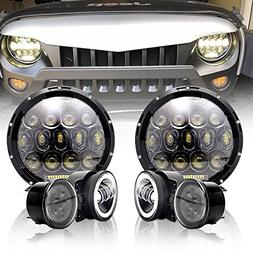 "TURBOSII DOT 7"" Black Led Headlights High/Low Beam DRL + 4 I"