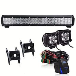 TURBOSII DOT Approved 20Inch LED Light Bar Rocker Switch Wir