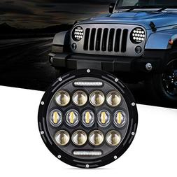 "Tsialee 7"" Inch 75W CREE LED Headlights Hi/Lo Beam With Dayt"