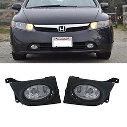 VioGi 2pcs JDM Clear Lens Fog Lights w/ Bulbs+Switch+Wiring