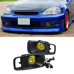 VioGi Fit 99-00 Honda Civic Yellow Lens Fog Lights Kit w/ Bu