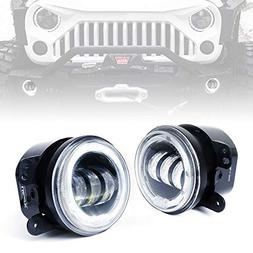 """Xprite 4"""" Inch 60W CREE LED Fog Lights w/White Halo Ring Ang"""