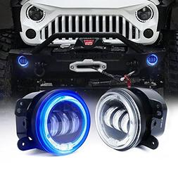 "Xprite 4"" Inch 60W Cree Led Fog Lights W/Blue Halo Ring DRL"