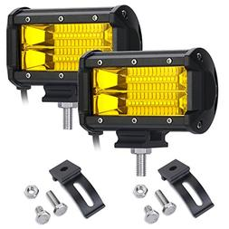 YGL Fog Lights, 2 X 72W Yellow Osram Flood Led Cube Light Dr