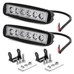 YITAMOTOR LED Light Bar 2PCS 18W 6 Inch Flood LED Work Light