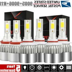 Combo 9005 + 9006 + H11 LED Headlight Hi Low Bulb 6000K 5950