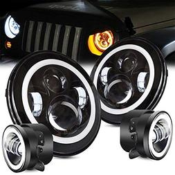 "TURBOSII DOT Approved Angel Eye 7"" Round LED Headlights For"