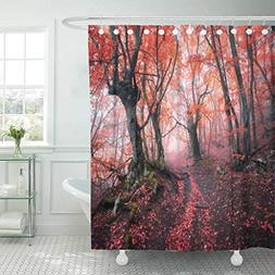 Emvency Fabric Shower Curtain Curtains with Hooks Pink Scene