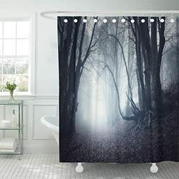 Emvency Fabric Shower Curtain Curtains with Hooks Blue Scene