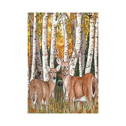Pingshoes Fall Harvest Field with Deer Polyester Garden Flag