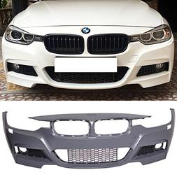 Front Bumper Cover Compatible With 2012-2018 BMW F30 3 Series M3 Style Front Bumper Cover Conversion Guard With Fog Cover by IKON MOTORSPORTS 2013 2014 2015