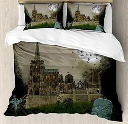 Gothic Duvet Cover Set King Size, Old Village and Graves wit