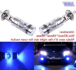 2x H1 10000K 100W LED BLUE 20-SMD Projector Fog Driving DRL