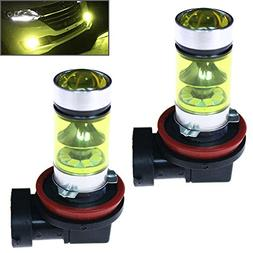 1 Pair 100W H11 H8 LED Fog Light Bulbs 4300K Yellow Fog Driv