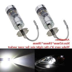 2x H3 6500K 60W LED HID White Projector Fog Light Bulbs Lamp