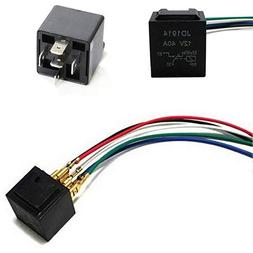 iJDMTOY 5-Pin 12V 40A SPDT Relay Socket Wire For Car Fog Lig