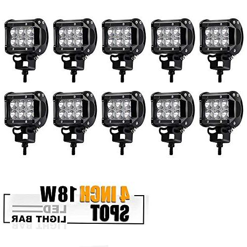 10Pcs 4In Pods Cube Spot Led Work Lights Bumper Grill Off Ro