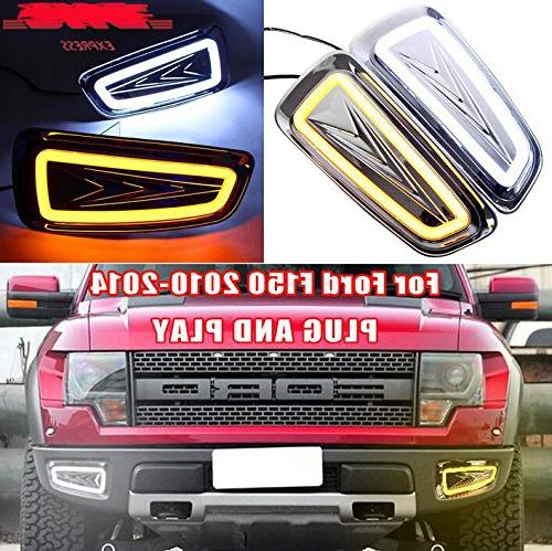 1Set White Yellow LED DRL Daytime Running Driving Lights Fog