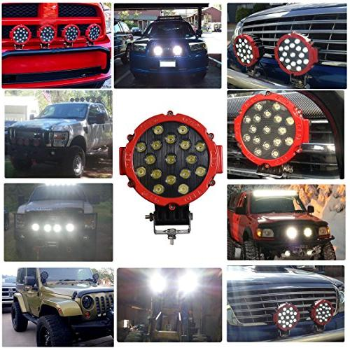 """2PACK 7"""" Offroad Pod Lights Bar 51W with Round Spot Bumper Driving Lamp Headlight Fog Light for ATV, SUV, Camping,"""