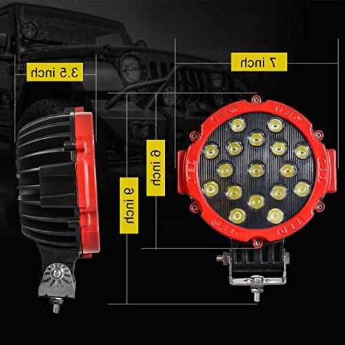 """2PACK 7"""" Offroad Pod Lights Bar with Round Spot Bumper Lamp Headlight Fog for ATV, SUV, Camping,"""
