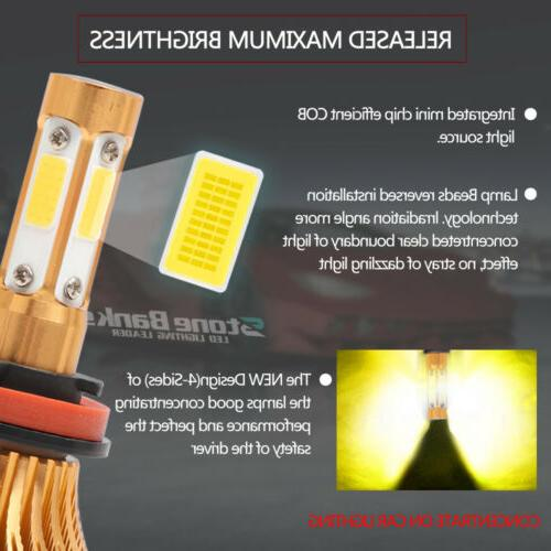 4-Side 3000K H11 H8 H9 Low Beam Yellow Light 2000W