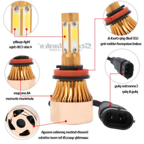 4-Side H9 Headlight Bulb Low Yellow Light 2000W