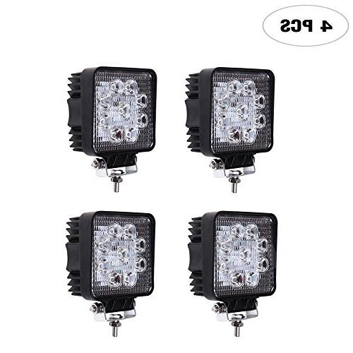 4PCS 4 Inch 27w Square Flood Work Light Offroad Driving Ligh