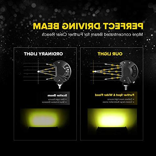 7 Inch Yellow Spot Beam LED Driving Lights Row Lighting Jeep Offroad SUV