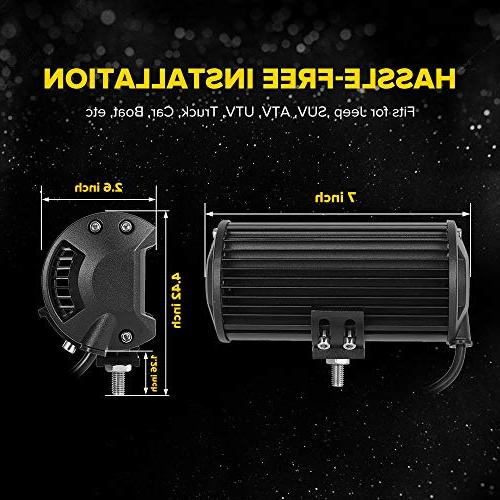 7 Inch 2PC Yellow Spot Bar Light Driving Work Lights Amber Quad Row for Offroad SUV Wrangler Boat