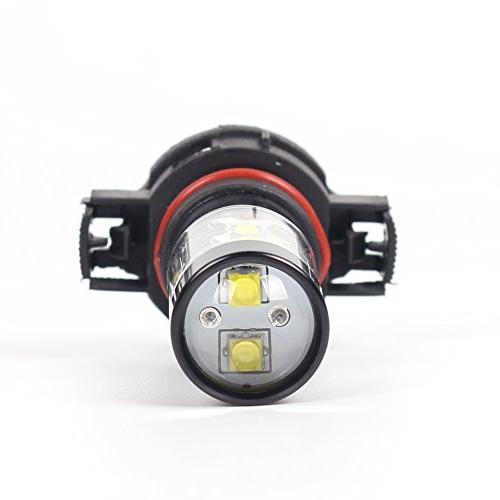 Alla 5201 LED Fog Super Bright Bulb Power for PS19W Fog Replacement, 6000K