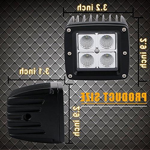 "DOT 3X3"" 16W Cube Pods Driving Fog Reverse Backup Work Boat Truck Bumper Rubicon Marine Dodge F150 Golf"