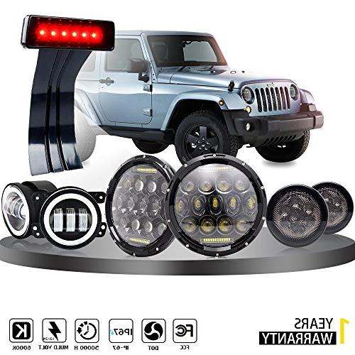 DOT Approved 7inch Jeep LED Headlights with White DRL + 4 in