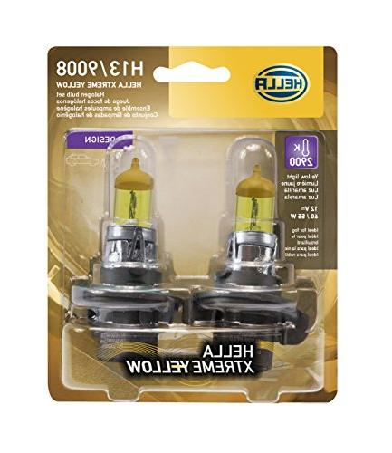 HELLA H13 Yellow-60/55W YL Xtreme Bulbs, 12V, 2 Pack