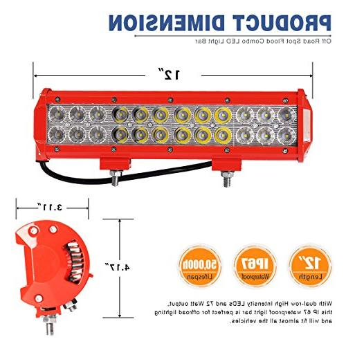 LED Light Bar Wiring Harness,YITAMOTOR 12inch 72W Red on
