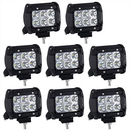 Lightfox 8Pcs 18W 4Inch CREE Flood LED Light Bar LED Pods Fo