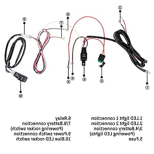 Liteway Light Bar Wiring Harness Kits 24V/40A Relay Blue Weatherproof