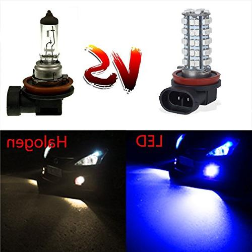 Partsam 2x 64212 Blue Off-road Fog Driving Light Bulb 3528 SMD Car With