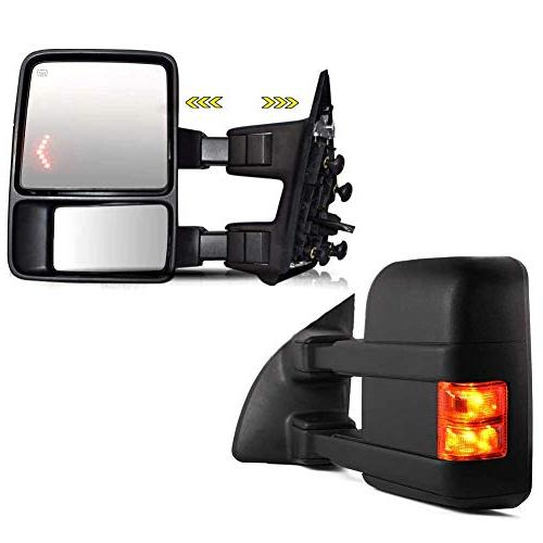 TURBOSII DOT Approved Pair Black Rear Tow Mirrors View Side