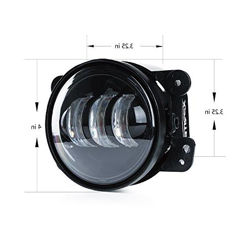 Xprite 2 PCs Inch 4800LM Jeep Wrangler LJ Fog Lamps Led Headlight Lamp