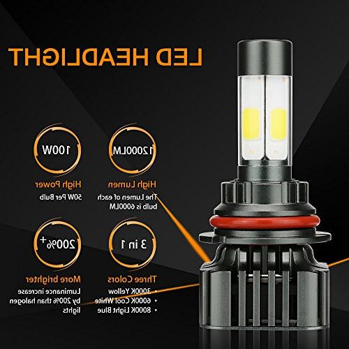 Zdatt 12000LM 9007 LED Bright 100W Low Beam Conversion 360 Degree Lighting Lamps for Car Light Replacement-3000K