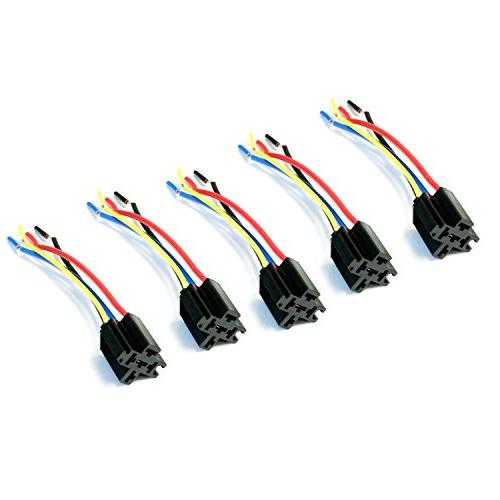 iJDMTOY 5-Pin SPDT Relay Sockets with Pigtails For Car Fog Lights, on