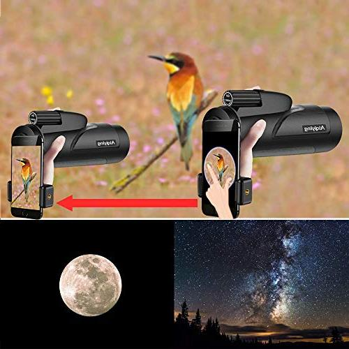Monocular Telescope, Dual Focus Low Night Vision High Spotting Scopes for with Adapter Bird Hunting,