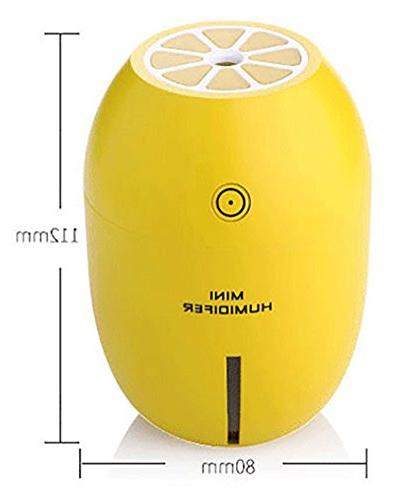 GZCNBMYUS Portable Humidifier, 180ML Lemon Shape Mist Maker Night Light for Office Car Yellow