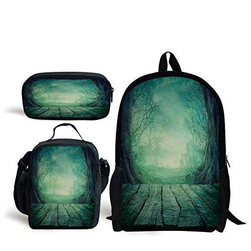 52ef9a9ff7c7 School Lunch Pen Bags,Gothic,Spooky Scary Dark Fog Forest with Dead Trees  and Wooden Table Halloween Horror Theme Print,Blue,Personalized Print