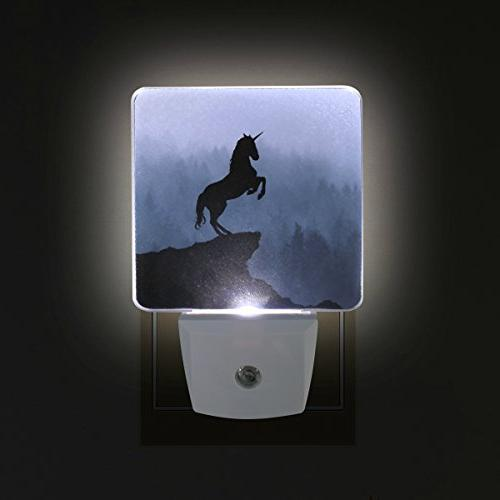 Naanle Unicorn Silhouette Fog Mountain Auto LED Dusk to Light for Adults