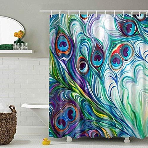 vibrant peacock feather shower curtain