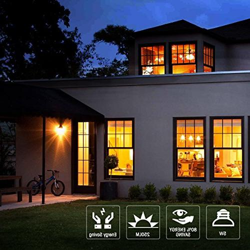 Yellow Light Bulb, JandCase Bulbs 40W Equivalent, A19 Lights with E26 Porch, Dimmable, Pack