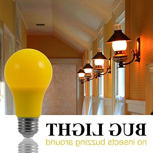 Yellow Bug Light Bulb, JandCase Decoration Bulbs A19 Outdoor Color Lights with E26 Porch, Home Lighting, Not Dimmable, Pack 2