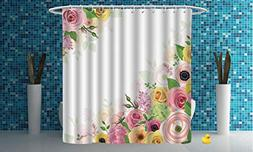 Mildew-proof Shower Curtain  Polyester Fabric Bathroom Showe