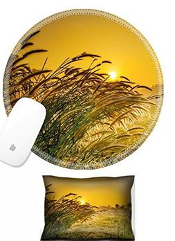 Luxlady Mouse Wrist Rest and Round Mousepad Set, 2pc IMAGE: